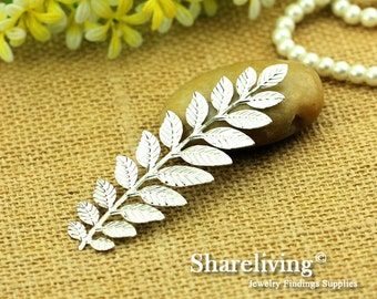 5pcs LARGE Silver Long and Leafy Branch Stamping Charms / Pendant