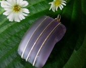 Lavender chunky glass pendant, beach glass inspired vintage pressed glass pendant wired wrapped and whimsical