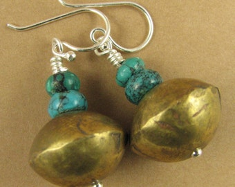 Turquoise and African brass bead earrings. Sterling silver. Handmade.