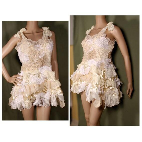 Shabby Chic Wedding Dress, Tattered Princess short dress. Gothic Lolita babydoll dress, Fairytale Bride Sundress. Crude Things