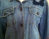 Hippie Gypsy Boho Altered Couture Recycled Blue Jean Jacket