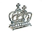 Shabby Cottage Chic Metal Crown Business Card Holder