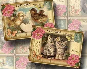 Baby Animals-Cute Antiqued Postcard Vintage Art Hang/Gift Tags-INSTaNT DOWNLoAD-Printable digital collage sheet JPG File-New Lower Price