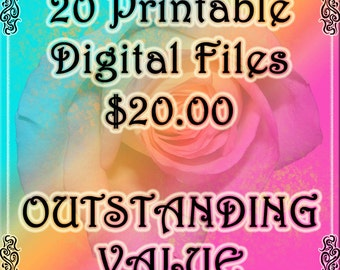 SPECIAL-JPG Digital DOWNLOaDS- 20 For 20.00-Printable Collage Sheets JPG Digital Downloads -Tags, Cards, Boxes, Envelopes, Pennants, Bags
