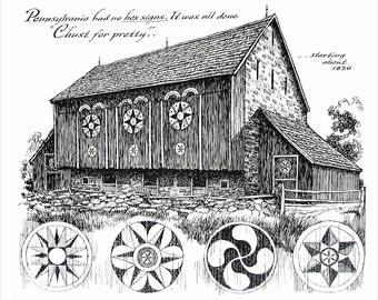 Pennsylvania Barn - 1967 Vintage Print - Black and White - 9 x 11