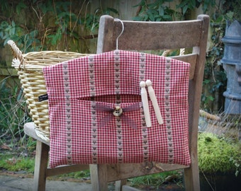 Red & Brown French Linen Clothespin Bag / Peg Bag