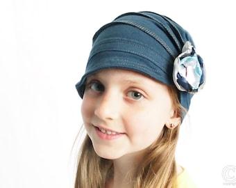 Kids teal hat soft and comfy hat lightweight fashion children hat girl cloche flapper stylish handmade hat cozy cap cotton handmade hat