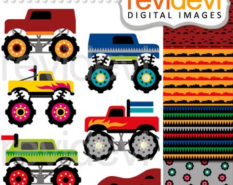 Monster truck clipart - big monster truck parade digital images - commercial use clipart
