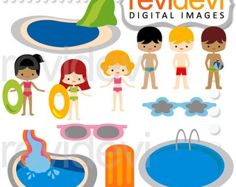 Pool party swimming pool clipart - boys and girls in swimsuit clip art - Pool party fiesta digital images - commercial use