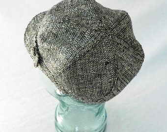 Raw Silk Newsboy Hat in Black, White, and Gold Tweed - Womens, Girls Hats