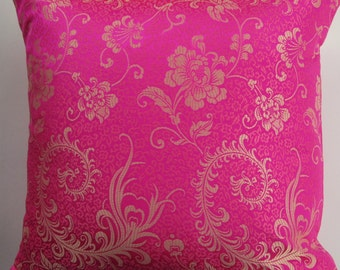Hot Pink Pillow Cover -- Hot Pink Brocade Cushion Cover with Gold Design --16 x 16