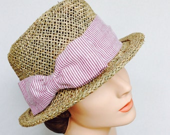 Ladies Straw Hat - Porkpie - Pin  Stripe  Seersucker cotton trim