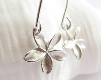 Pua Melia - Tiny plumeria earrings sterling silver, summer earrings, beach earrings, summer jewelry, drop earrings