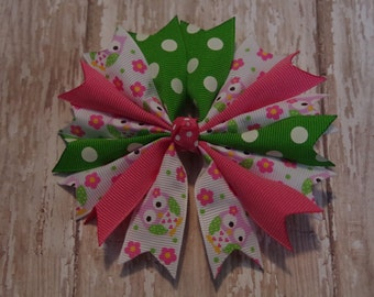 "Boutique Pinwheel Spikes Owl 4"" Hair Bow Hot Pink & Green"
