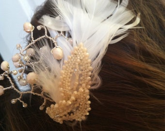 Feather and Ivory Swarovski Bridal Comb