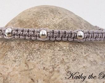 Macrame Bracelet - Silver Sterling Silver Macrame Bead Bracelet - KTBL