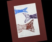 Original Art GYOTAKU Fish Rubbing Tails on rice paper 11X14 Lake or Cottage Decor your choice of matt color