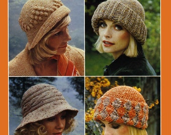 Vintage Ladies Hats in Four Styles, Knitting and Crochet Pattern, 1960 (PDF) Pattern, Patons 1065