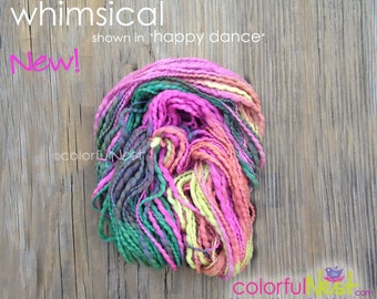 """Colorful Nest Purl Strand in """"happy dance"""" lumpy bumpy thick and thin handspun yarn for  Welcoming Home Baby the Handcrafted Way ON SALE"""