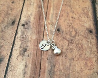 Pear initial necklace - fruit necklace, silver pear necklace, fruit jewelry, food necklace, pear pendant necklace, pear jewelry