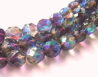 12 Fire Polish Czech Glass Beads MAGNIFICENT WATERCOLORS AB 10mm