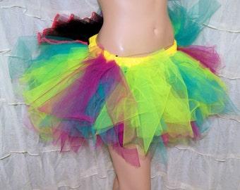 BONANZA Neon Lime Green Teal Trashy Ragged TuTu Skirt Adult Medium - MTCoffinz - Ready to ship