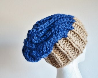 Chunky Knit Hat, Navigator Hat, Women's Bicolor Chunky Knit Hat in Camel & Blue