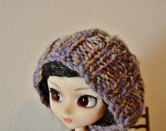 Doll Size Super Slouchy Beanie for Blythe or Pullip Scale Poppet Noggins - Handspun Yarn Hand Knit in Wool, Alpaca, Silk. Photo Prop OOAK