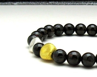 Garnet Modern Beaded Bracelet with Mixed Metals, January Birthstone, Dark Natural Garnet, for Her Under 200, US Free Shipping