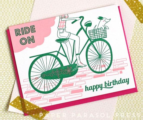 Happy Birthday Bike Letterpress Printed Card