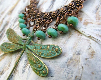 dragonfly Statement necklace Dragonfly necklace gift for her bohemian statement jewelry dragonfly jewelry