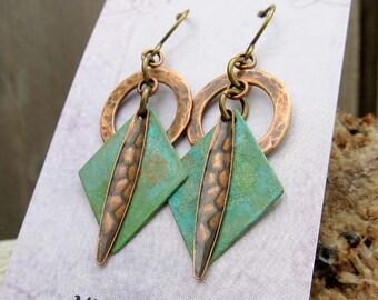 Mixed Metal geometric earrings Patina dangle earrings Gift for wife  Bohemian jewelry