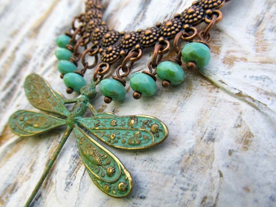 RESERVED dragonfly Statement necklace Dragonfly necklace gift for her bohemian statement jewelry dragonfly jewelry