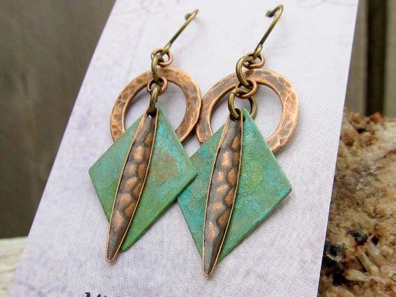 Mixed Metal earrings geometric earrings Patina earrings Gift for wife  Bohemian jewelry