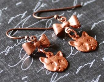 Cat Earrings, Kitty Earrings, Copper Earrings, Cat Charms, Cat Lover Gift, Cat Jewelry, New Kitten Gift, Vet Gift, SRAJD JewelryFineAndDandy