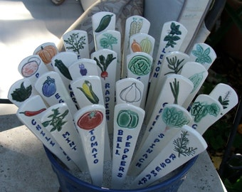 Nine Ceramic Garden Markers, Individually Hand Painted Vegetables