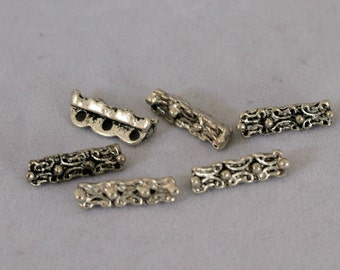 Antiqued Pewter Spacer Bar Three Strand Pkg of 14