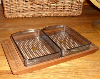 Vintage Danish Condiment Teak Tray  Set Mid Century Modern