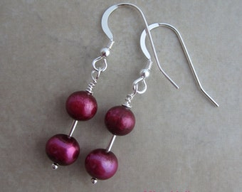 Magenta Pearl and Sterling Silver Dangle Earrings