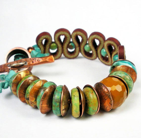 RESERVED For Martina, Turquoise and Copper Bracelet, Mookite, and Leather Chunky Beaded Bracelet with Etched Copper- Colorado  High Low