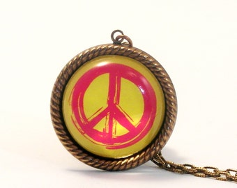Peace Rally Yellow Peace Symbol Pendant Necklace