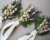 Bridesmaid Bouquet of Lavender, Blush and Ivory Larkspur and Cedar