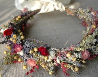 Bridal Flower Crown Dried Lavender and Dried Flowers for Brides, Bridesmaids, Flowergirls paulajeansgarden