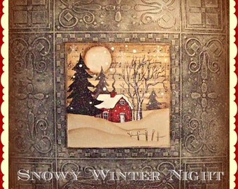 Apple Tree Cottage Original Design E Pattern  -  Snowy Winter Night