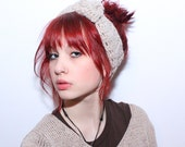Headband chunky Knot ear warmer turban wool Natural Ivory