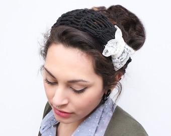 LAST ONE headband chunky summer turban vegan crochet vintage lace black ivory