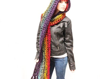 The KISS open end fringe long cowl hood scarf Vegan Rainbow black