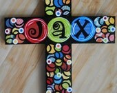 Reserved For Vicki ..Mixed Media Collage Art Wood Cross (10x13)