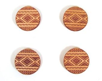 Tribal Design Magnets - Engraved Wood - Set of 4