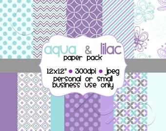 Printable Aqua Lilac & Gray Digital Scrapbooking Paper Pack
